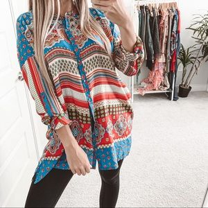 Johnny Was Button Down Silk Tunic Top Blue Red